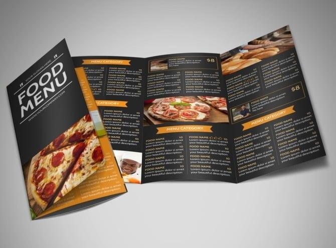 menu per pizzeria